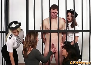 Cfnm police chicks dominate in the buff incarcerated