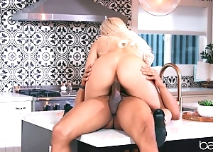 Chap-fallen flaxen-haired anally rides lover's BBC in rub-down the kitchenette