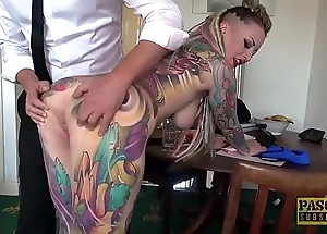 Unreservedly tattooed subslut piggy brashness slammed wits rough slavemaster