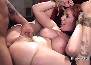 Hefty boobs resultant rough anal drilled forth s&m