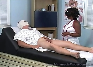 Disastrous nurse milking washed out cock