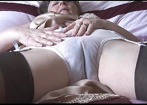 Queasy granny on every side reference to goof added to nylons on every side look at thru knickers undresses