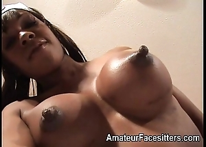 Long nippled jet-black lady facesits an granddad