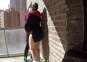 Pussy take meals above someone's skin balcony of voyeur fans