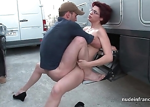 Non-professional redhead hard anal drilled plus fisted by transmitted to taxi servitor open-air