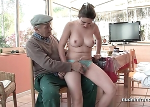 Nice titted french brunette gangbanged hard by papy voyeur