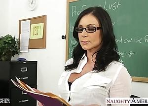 Shadowy teacher kendra hot pants receives facialized