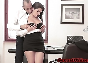 Busty office spex toddler acquires ejaculation upstairs boobs