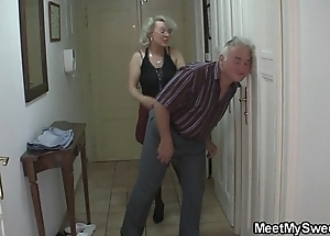 He finds his female parent coupled with old man screwing his gf