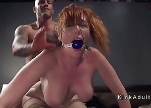 Gagged Brobdingnagian tits redhead anal fucked